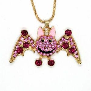 Jewelry - New Pink Bat Goth Crystal Enamel Pendant Necklace